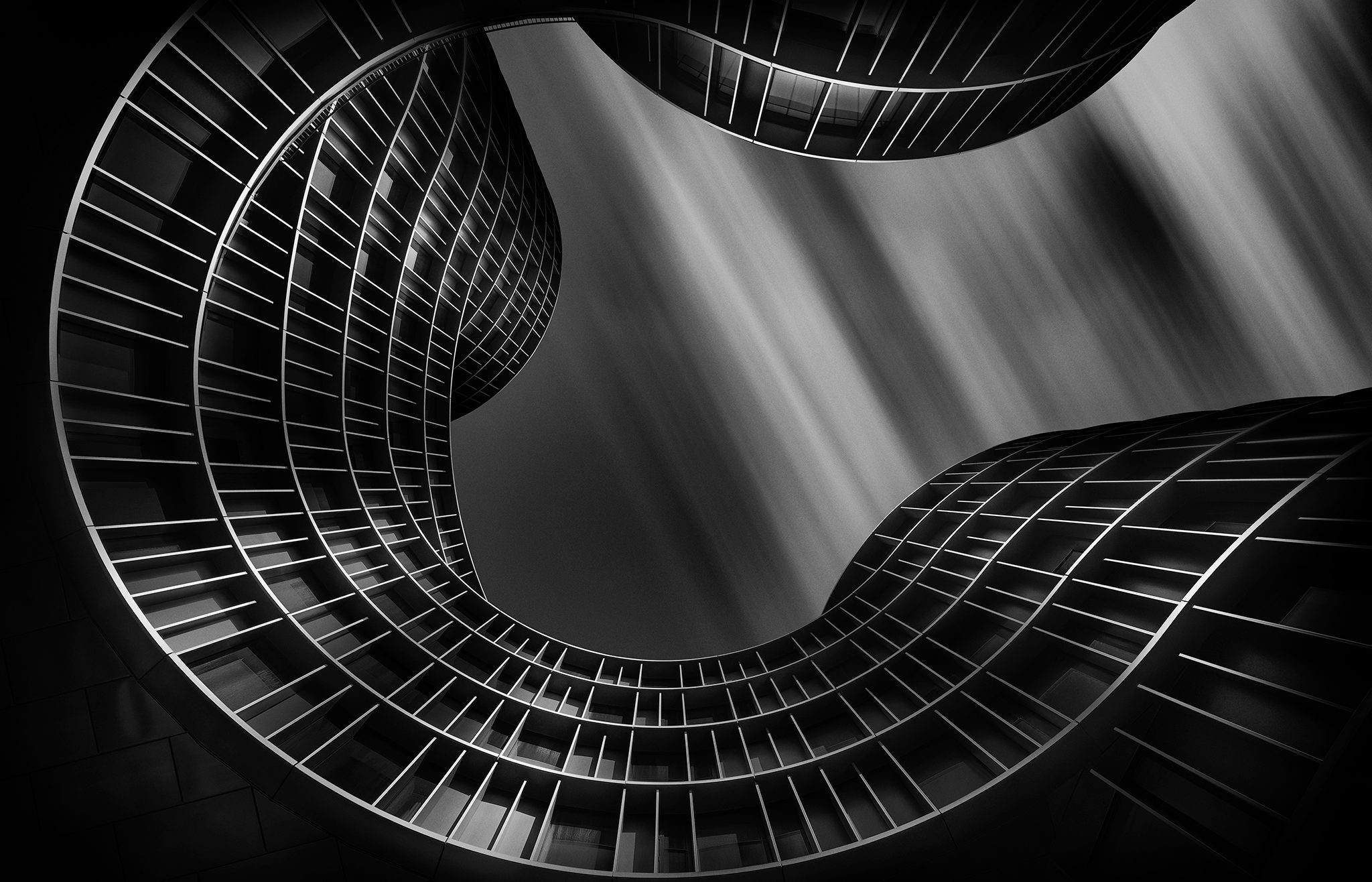 Long exposure fine art black and white architecture photography. Axel Towers were finished in 2017 consisting of several towers combined together into one big architectural piece of wonder.